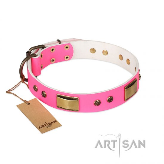 'Pink Dreams' FDT Artisan German Shepherd Leather Dog Collar with Adornments 1 1/2 inch (40 mm) wide