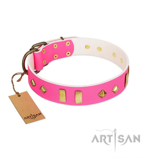 """Gentle Temptation"" FDT Artisan Pink Leather German Shepherd Collar with Goldish Plates and Studs"