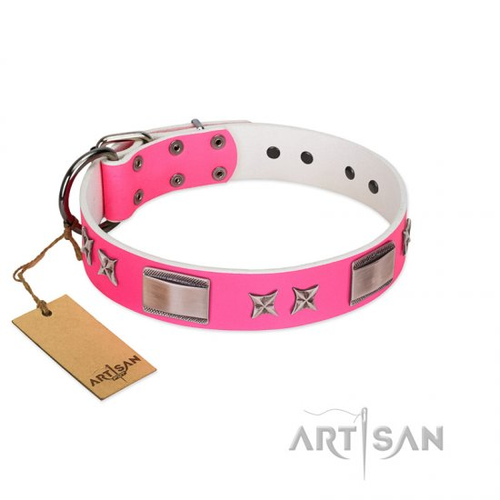 """Pinky Fantasy"" Pink FDT Artisan Leather German Shepherd Collar with Chrome-plated Stars and Large Plates"