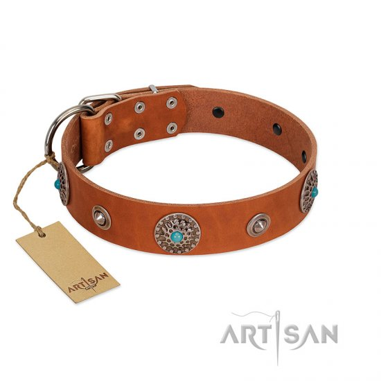 """Marine Antiques"" Handmade FDT Artisan Tan Leather German Shepherd Collar with Blue Stones"