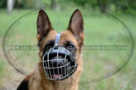'Bite Salvage' German Shepherd Wire Muzzle - Wire Basket Dog Muzzle