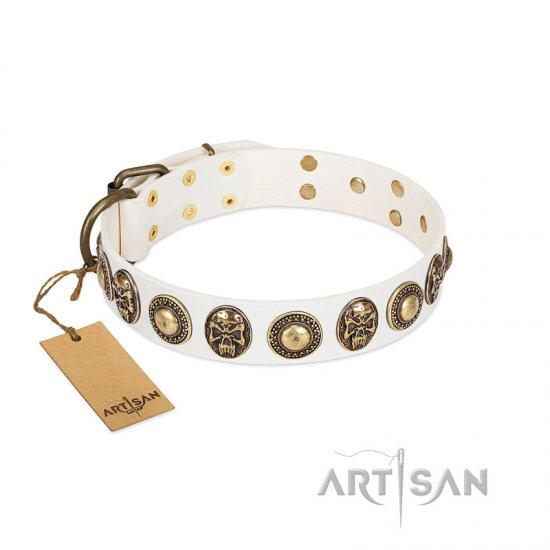 """White Delight"" FDT Artisan White Leather German Shepherd Collar with Exclusive Embelishments"