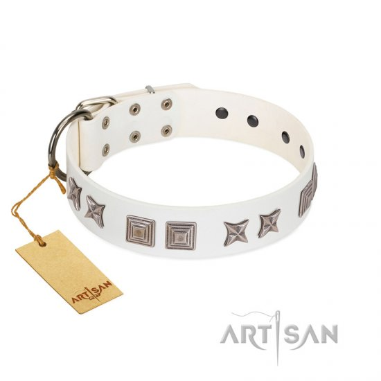 """Mister Perfection"" Designer Handmade FDT Artisan White Leather German Shepherd Collar"
