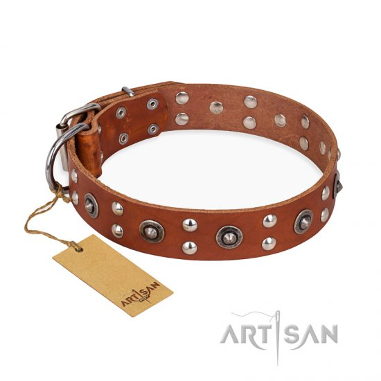 'Silver Elegance' FDT Artisan Tan Leather German Shepherd Collar with Studs and Cones 1 1/2 inch (40 mm) Wide