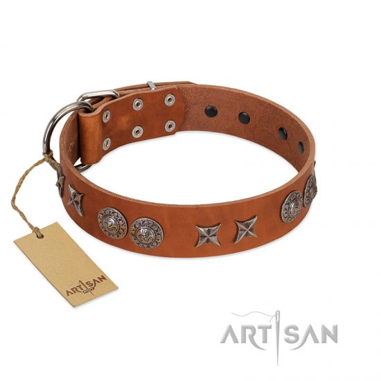 """Splendid Armor"" Premium Quality FDT Artisan Tan Designer German Shepherd Collar with Shields and Stars"
