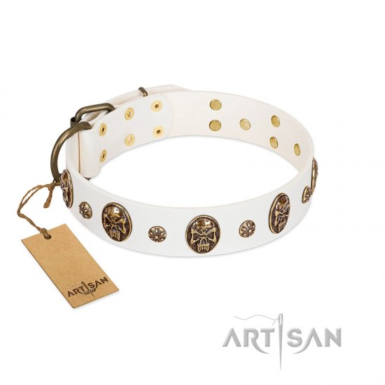 """Magic Bullet"" FDT Artisan White Leather German Shepherd Collar with Studs and Skulls"