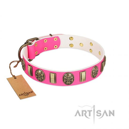 """Perilous Beauty"" Pink FDT Artisan Leather German Shepherd Collar with Small Plates and Skulls - Click Image to Close"
