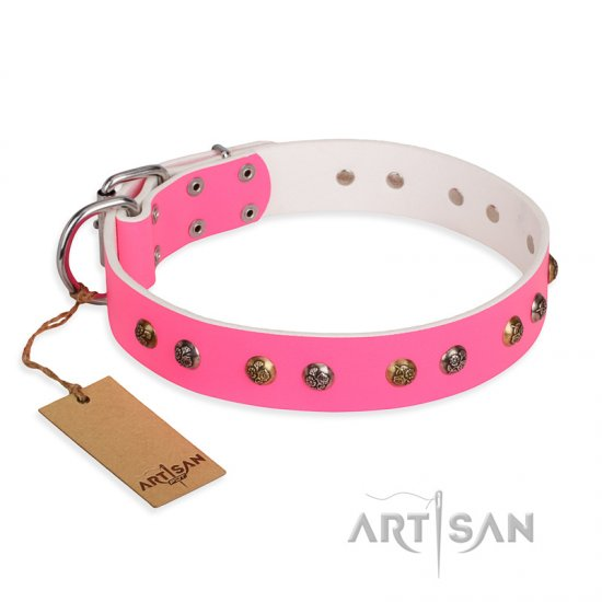 'Sheer Love' FDT Artisan Pink Leather German Shepherd Collar with Old-look Hemisphere Studs
