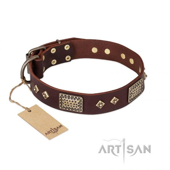 FDT Artisan 'Loving Owner' Decorated Leather German Shepherd Dog Collar with Plates and Studs 1 1/2 inch (40 mm)