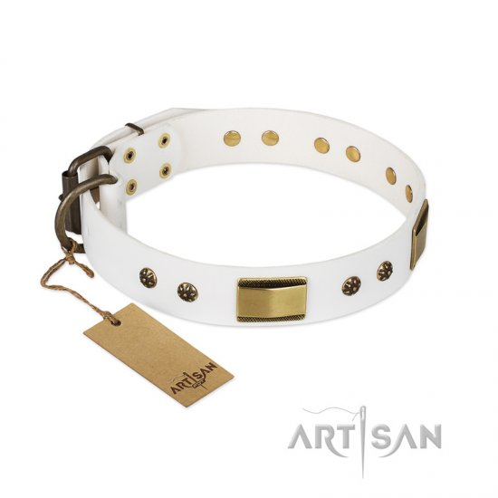 'Precious Necklace' FDT Artisan German Shepherd White Leather Dog Collar with Plates and Studs - 1 1/2 inch (40 mm) wide