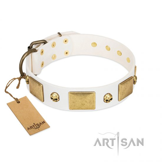 """Inspiration"" FDT Artisan White Leather German Shepherd Collar with Antiqued Skulls and Plates"