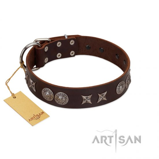 """Antique Style"" Designer Handmade FDT Artisan Brown Leather German Shepherd Collar"