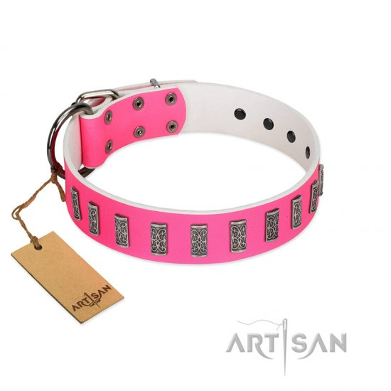 """Pink Necklace"" Handmade FDT Artisan Pink Leather German Shepherd Collar with Silver-Like Decorations"