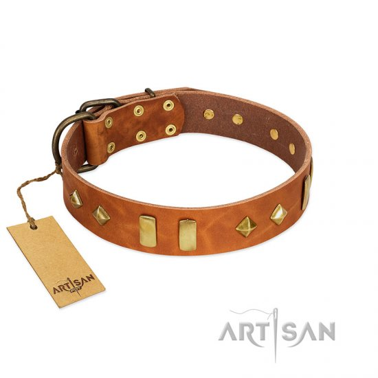 """Woofy Dawn"" FDT Artisan Tan Leather German Shepherd Collar with Plates and Rhombs"