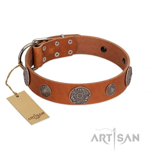 """Foxy Nature"" FDT Artisan Tan Leather German Shepherd Collar with Chrome Plated Brooches"