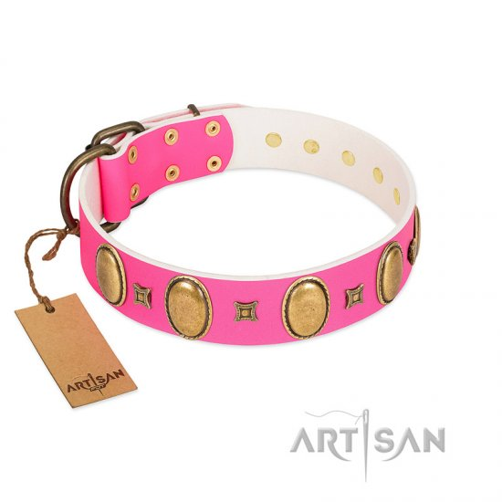"""Pawfect Lady"" Designer Handmade FDT Artisan Pink Leather German Shepherd Collar with Ovals and Studs"