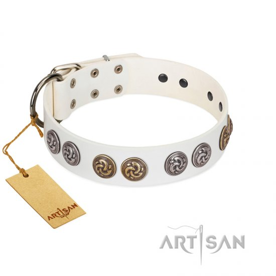 """White Moonlight"" FDT Artisan White Leather German Shepherd Collar with Elegant Decorations"