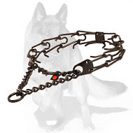 German Shepherd Black Steel Pinch Dog Collar 1/8 inch (3.2 mm)