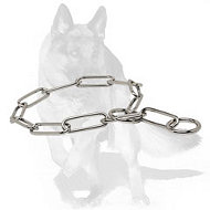 German Shepherd Chrome Plated Fur Saver Dog Collar 1/6 inch (4.0 mm)