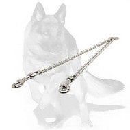 German Shepherd Chrome Plated Chain Coupler for Walking 2 Dogs -diameter of the link - 1/10 inch (3 mm)