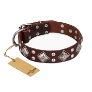 """King of Grace"" FDT Artisan Brown Leather German Shepherd Collar for Daily Walking"