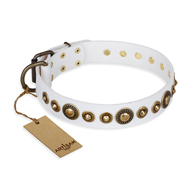'Swirl of Fashion' FDT Artisan Delicate White Leather German Shepherd Collar with Stunning Bronze-like Plated Round Studs