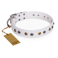 'Snowflake' FDT Artisan White Leather German Shepherd Collar with Decorations