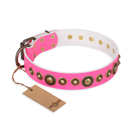 'Pink Gloss' Leather German Shepherd Collar with Old Bronze-like Plated Circles and Studs 1 1/2 inch (40 mm) Wide