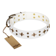 """Bright stars"" FDT Artisan Astonishing White Leather German Shepherd Collar"
