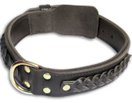 Alsatian Dog Braided black collar 23''/23 inch dog collar-C55s33
