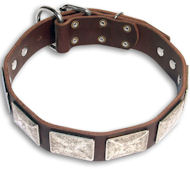 Leather Brown dog collar 25'' for GSD /25 inch dog collar-c83
