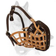 'Pimp my Walk' Attack Training Leather Basket Muzzle for German Shepherd