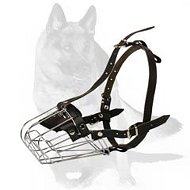 Special Training K9 German Shepherd Wire Basket Muzzle