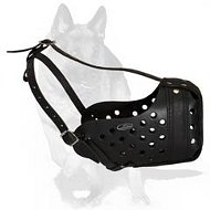German Shepherd Dog Leather Basket Muzzle