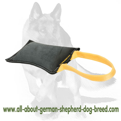 Comfy leather tug for biting with handle