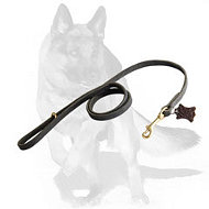 German Shepherd handcrafted leather dog leash width 1/2 inch