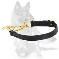 German Shepherd Martingale Leather Collar with Brass Chain 1/6 inch (4 mm)