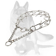 German Shepherd Chrome Plated Dog Pinch Collar 1/8 inch (3.2 mm)