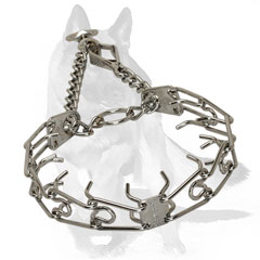 German Shepherd Chrome Plated Steel Pinch Dog Collar 1/9 inch (3.0 mm)