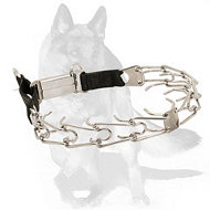 German Shepherd Stainless Steel Pinch Collar with Click Lock Buckle and Nylon Loop 1/8 inch (3.2 mm)
