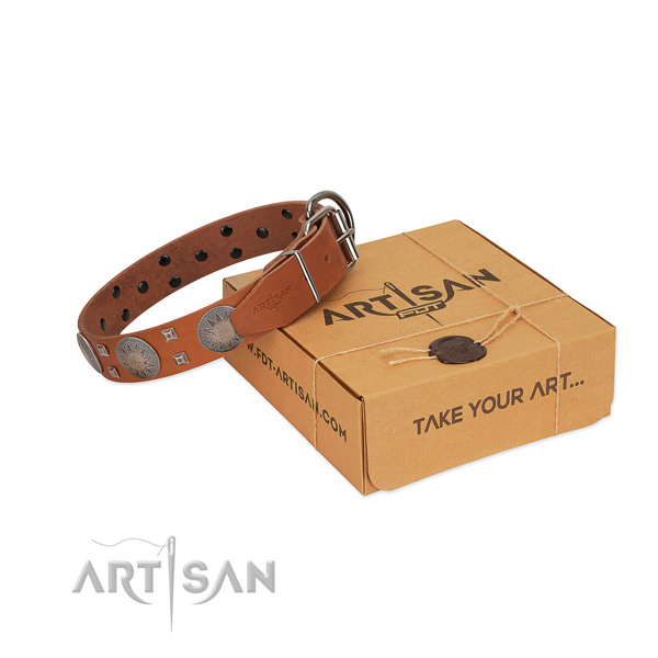 Rust resistant D-ring on genuine leather dog collar for comfy wearing