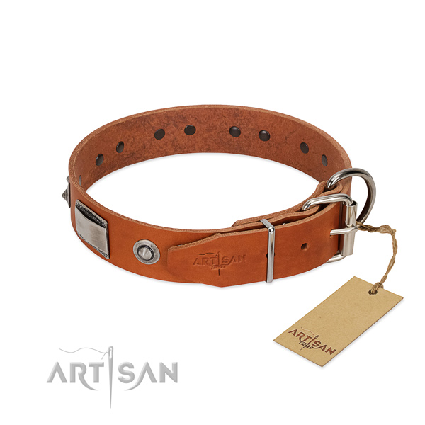 Top notch natural leather collar with decorations for your pet