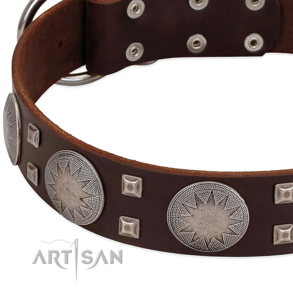 Comfortable wearing genuine leather dog collar