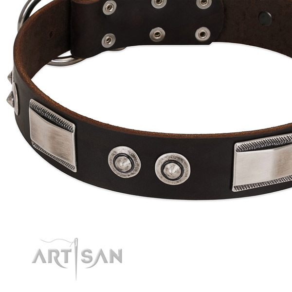 Stylish design full grain leather collar for your pet