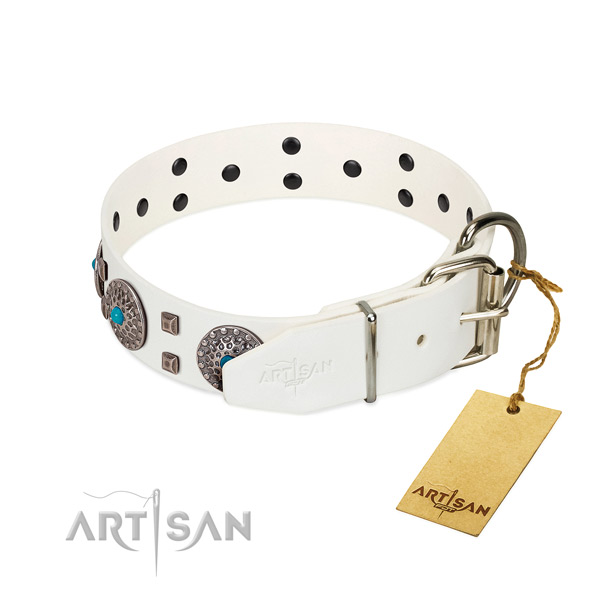 Top rate full grain natural leather dog collar with decorations for daily walking