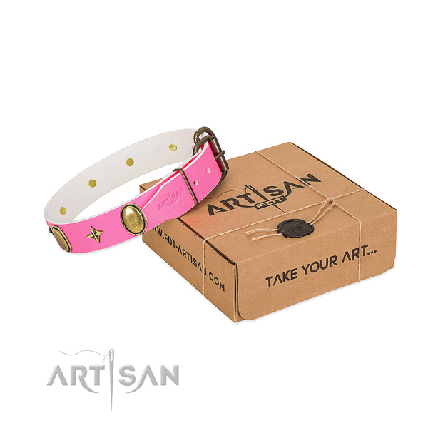 Soft to touch natural leather dog collar with stylish design adornments