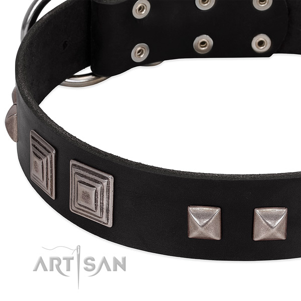 Reliable D-ring on leather dog collar for comfy wearing