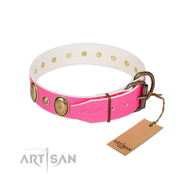Daily use gentle to touch leather dog collar