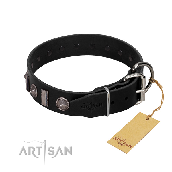 Best quality full grain natural leather dog collar with decorations for your impressive four-legged friend