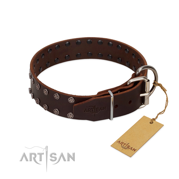 Quality full grain genuine leather dog collar with decorations for your four-legged friend